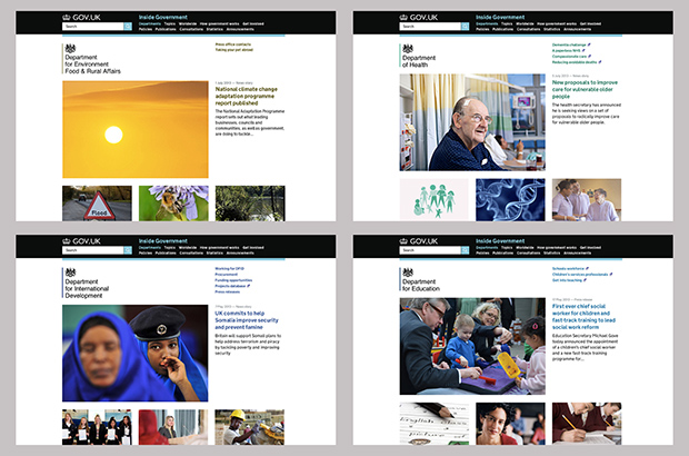 Four departmental homepages showing good use of visuals
