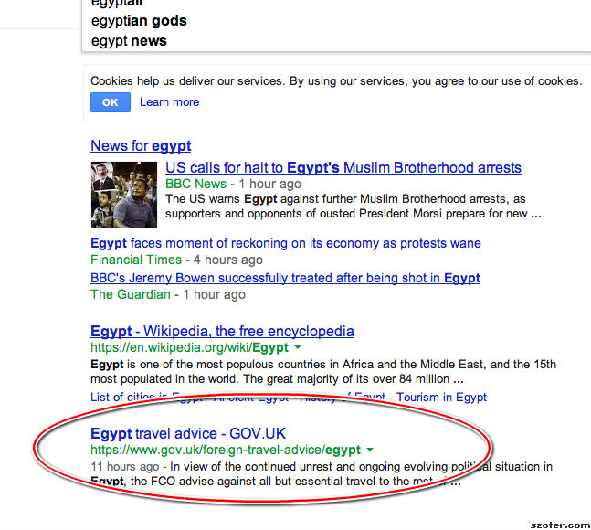 Google search results for Egypt
