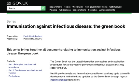 Immunisation against infectious diseases: our most popular document series