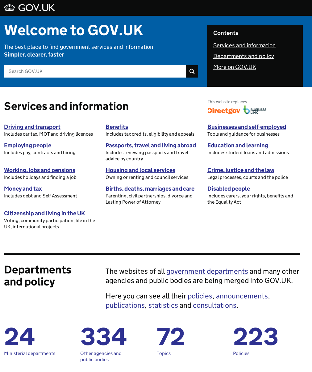 Screenshot of GOV.UK homepage