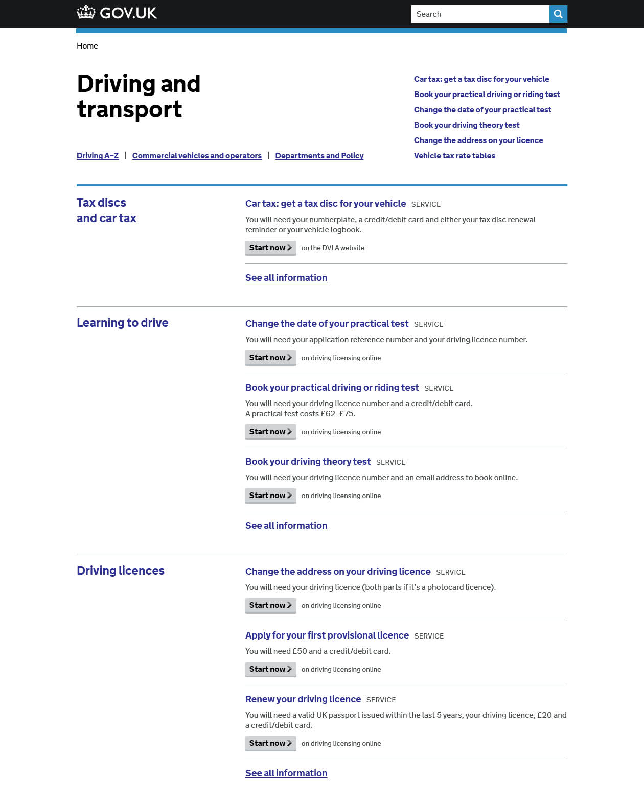 Prototype Driving and Transport category page
