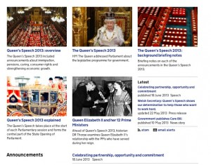 Featured items on the Queen's Speech topical event page