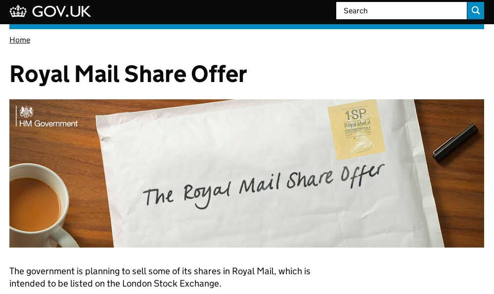 The GOV.UK Royal Mail share offer landing page