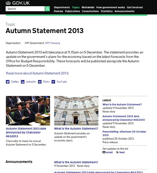 The Autumn Statement topical event page