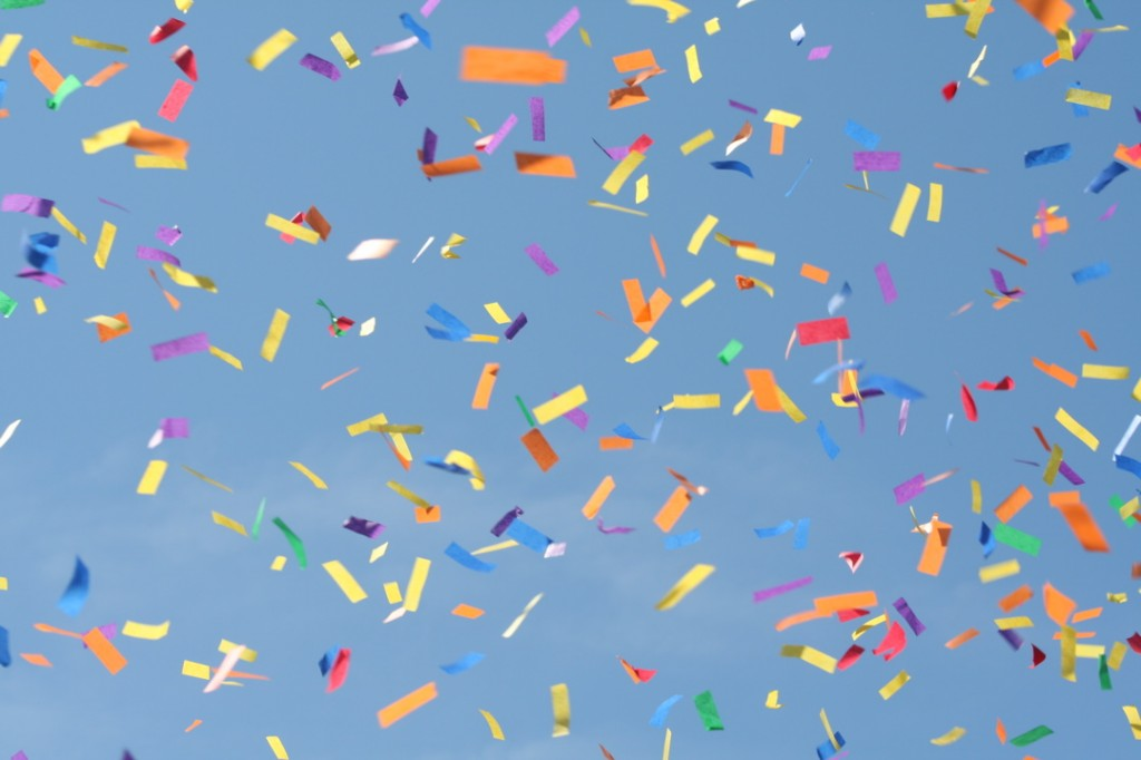 Picture of confetti in the sky