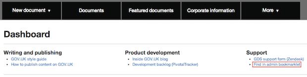 Bookmarklet on publisher dashboard