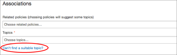 Screenshot showing how to request a new topic in Whitehall publisher