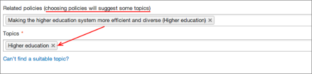 Screenshot showing how policy tag infers a topic tag