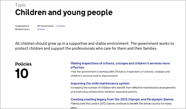 Screenshot showing policies displayed on topic landing page for 'Children and young people'