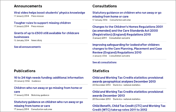 Screenshot of latest content on 'Children and young people' topic landing page