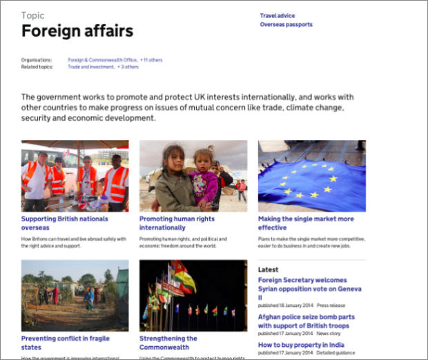 Screenshot of featured topics on foreign affairs topic landing page