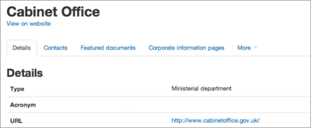 Screenshot showing the 'Details' section in Whitehall publisher for Cabinet Office
