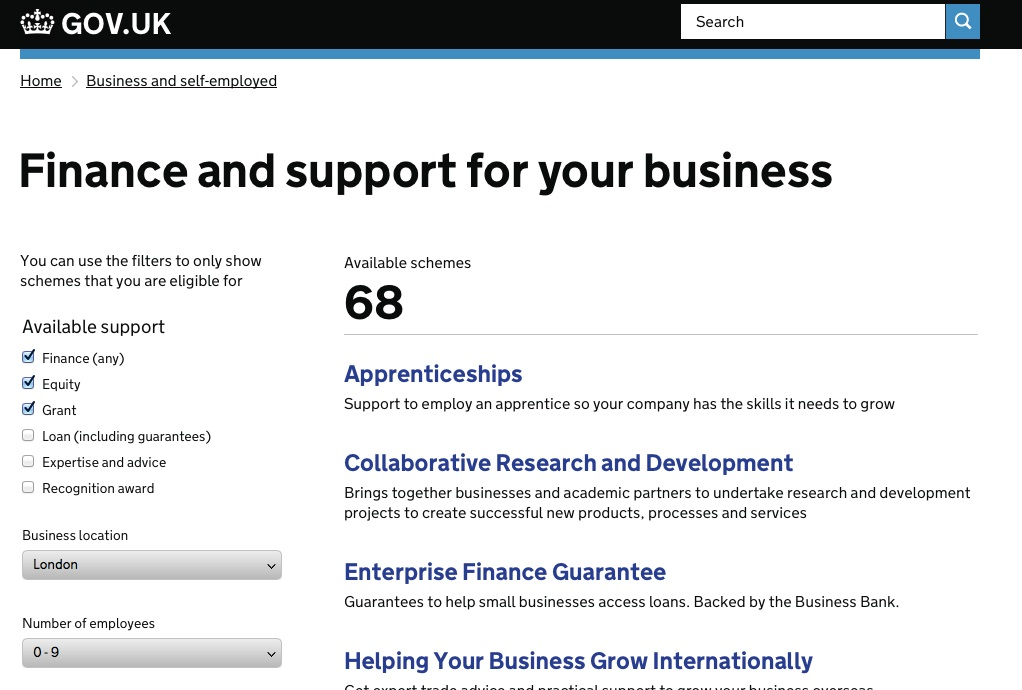 The business finance support finder