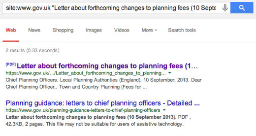 GOV.UK chief planning officer letters search result on Google