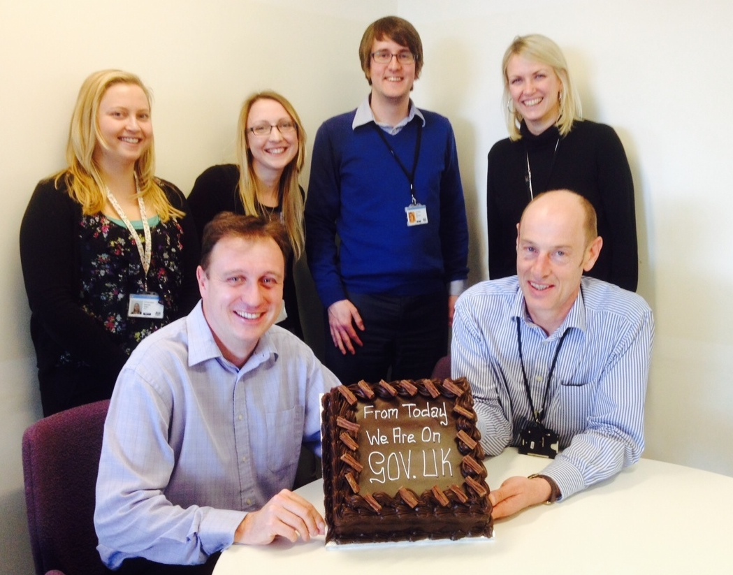 True to GDS form, here's the EFA team who were responsible for the transition to GOV.UK on the day EFA went live on the site (the cake was pretty awesome, by the way!)