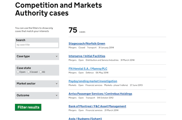 Competition and Markets Authority case finder