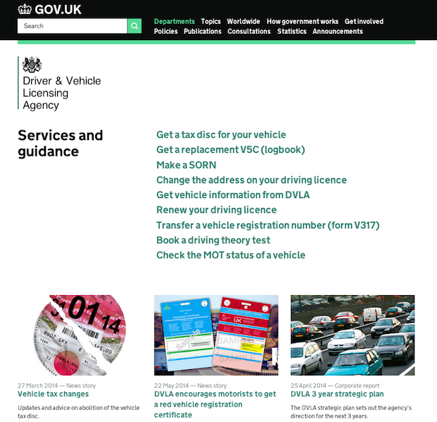 DVLA homepage with new layout
