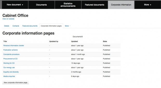 Corporate information page in the publishing tool
