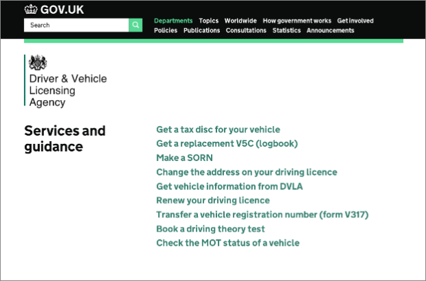 Screenshot of links to DVLA services