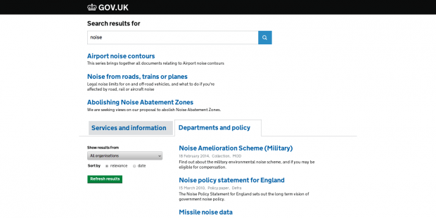 noise tabbed search GOV.UK
