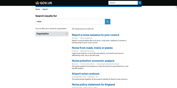 noise unified search GOV.UK