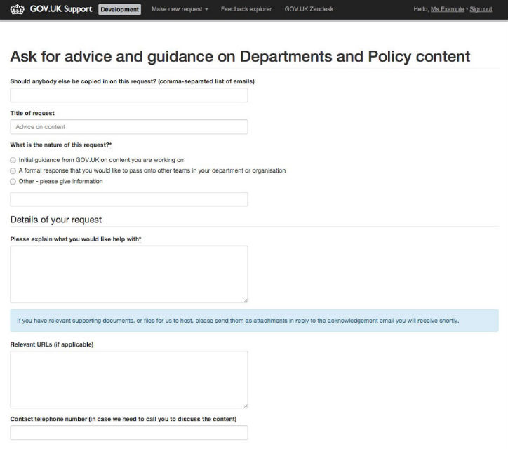 Content advice form on Zendesk