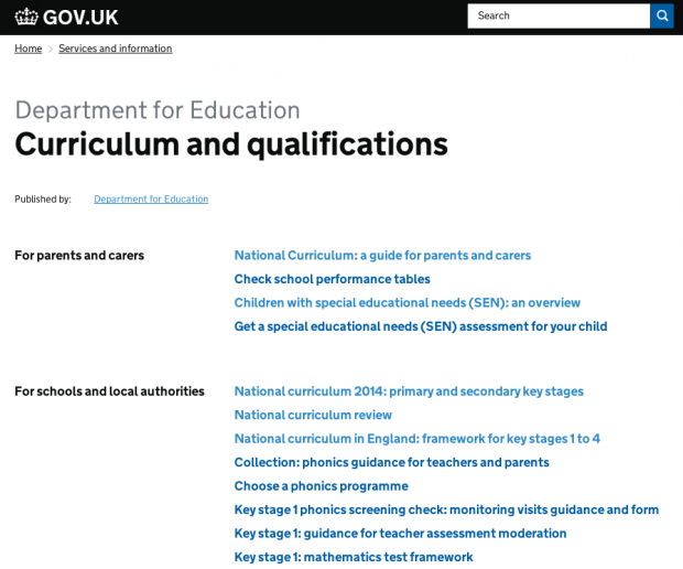 DfE curriculum - model 1
