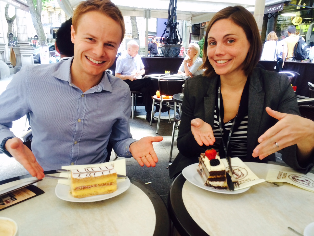 Tom and Rachel, from Monitor, with cake to celebrate their launch on GOV.UK