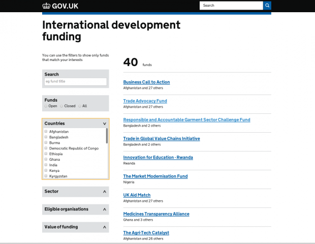 International development funding finder