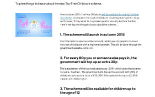 Part of HM Treasury's tax-free childcare news article