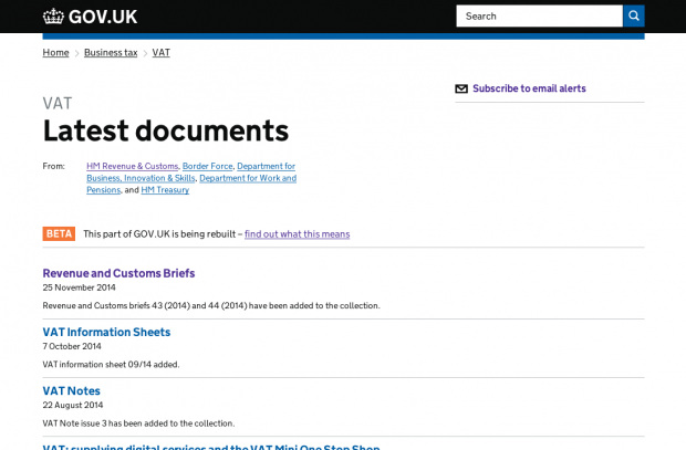 VAT Latest documents page on GOV.UK