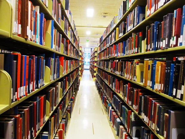 Image of library stacks. Credit: Beth Jusino