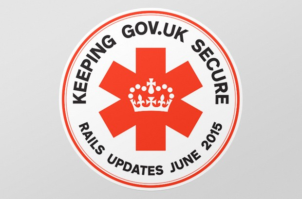 "A mission patch sticker ""keeping GOV.UK secure: rails updates June 2015"""