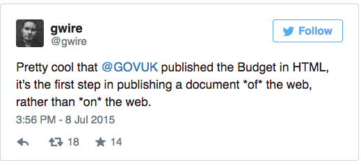 Pretty cool that @GOVUK published the Budget in HTML, it's the first step in publishing a document *of* the web, rather than *on* the web.