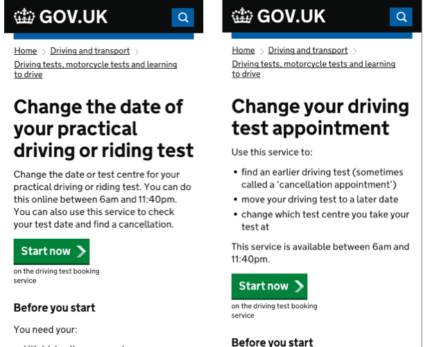 Change the date of your driving test appointment - before and after