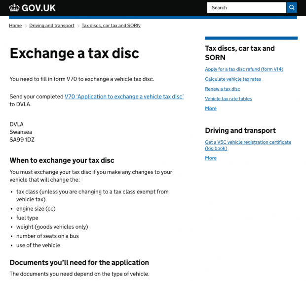 'Exchange a tax disc' on GOV.UK in 2014