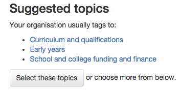 Suggested topics to tag to