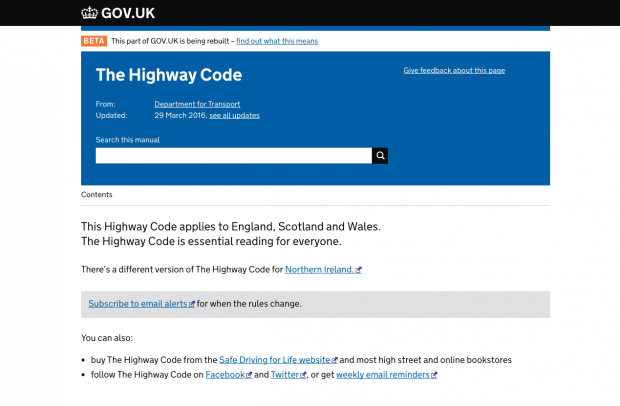 The Highway Code uses the 'manuals format