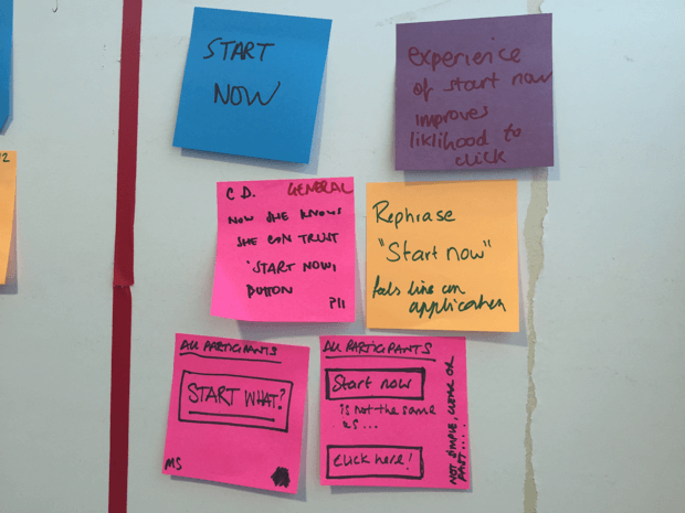 Cluster of sticky notes showing user research comments about 'Start now'