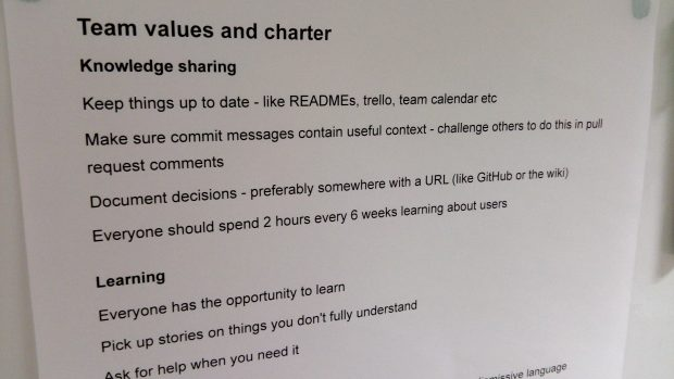 Team values and charter