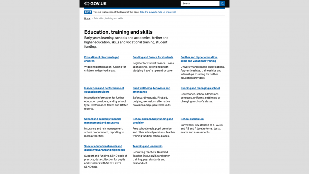 Screenshot of the new education, training and skills navigation page