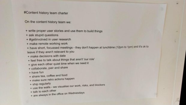 Content History team charter