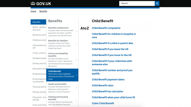 A screenshot from GOV.UK - example of similar titles from browsing the Child benefit menu