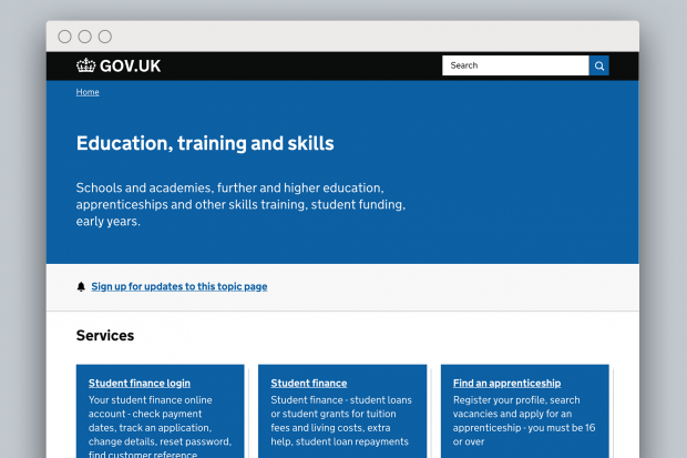 A screen shot of the 'Education, training and skills' topic page