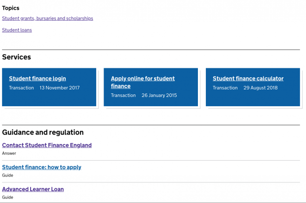Screenshot of 'Services' and 'Guidance and regulation' supergroups