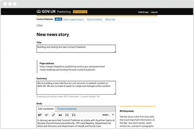Screenshot of the Content Publisher interface