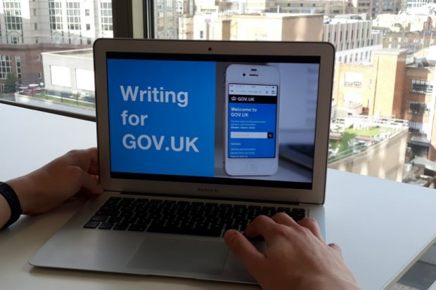 Computer screen showing GOV.UK writing course