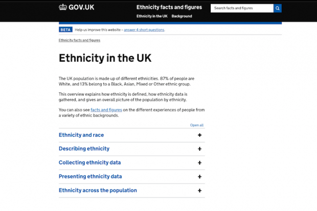 A screenshot of the ethnicity in the uk page