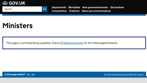 Screenshot of reshuffle mode for Ministers page on GOV.UK