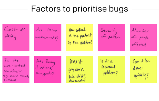 Post its with prioritisation factors